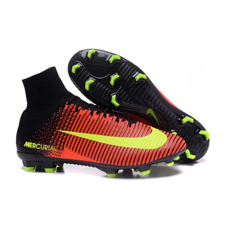 Nike Men's Mercurial Superfly V FG Football Shoes Soccer Cleats(Yellow Black)