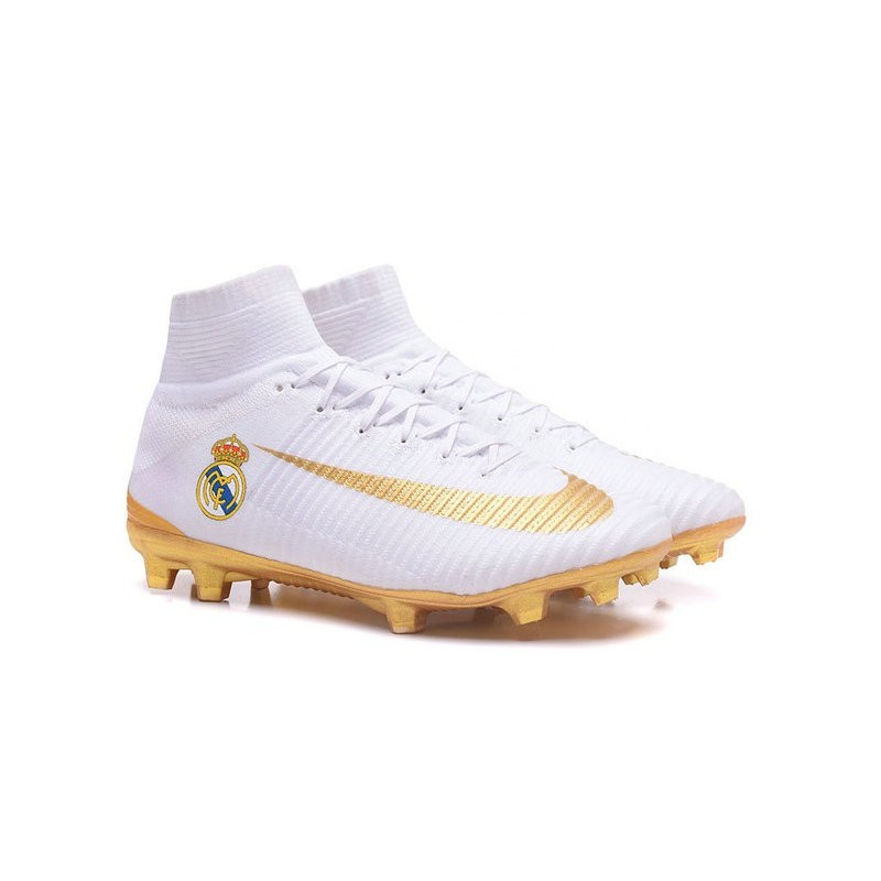 42063479fd7 Nike Mercurial Superfly 5 FG Top Boot Real Madrid FC White Gold