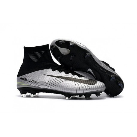 dc2440a9f02 Nike Mercurial Superfly 5 FG Top Boot Silver Black