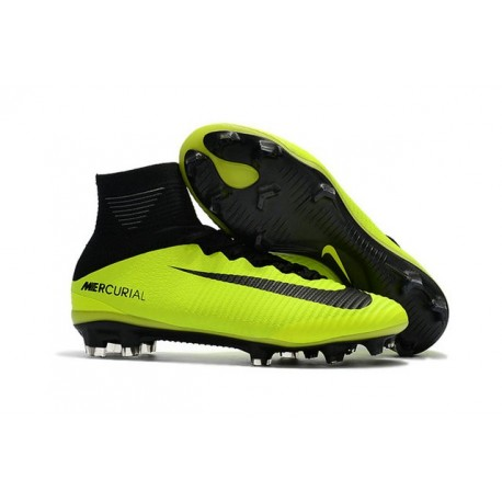 New 2017 Nike Mercurial Superfly V FG Soccer Cleats Yellow Black 17af291568b1