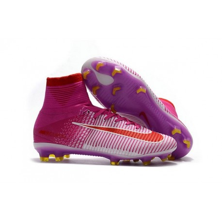 New 2017 Nike Mercurial Superfly V FG Soccer Cleats Pink Red White
