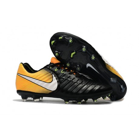Nike Tiempo Legend 7 FG News Leather Soccer Cleat  Black Yellow White