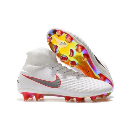 Nike Magista Obra II FG ACC Soccer Cleats White Grey Red