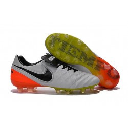 Nike Leather Tiempo Legend 6 FG Firm Ground Cleats -White Orange Black