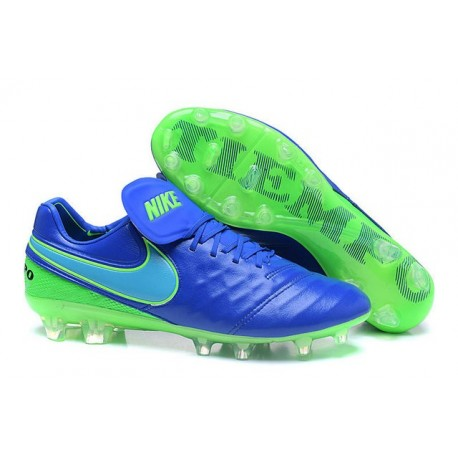 Nike Leather Tiempo Legend 6 FG Firm Ground Cleats -Blue Green