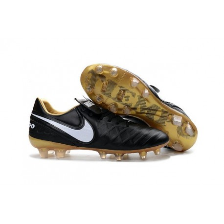 Nike Leather Tiempo Legend 6 FG Firm Ground Cleats -Black Gold White
