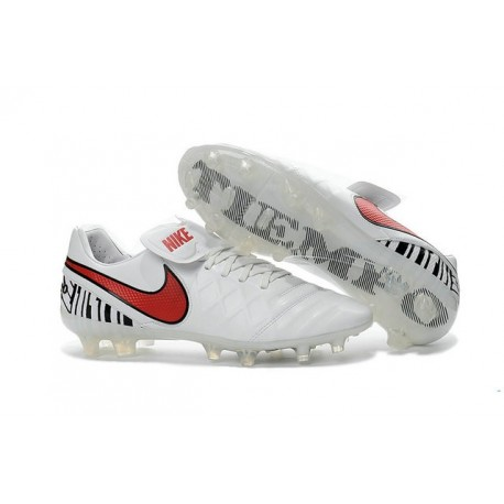 Nike Leather Tiempo Legend 6 FG Firm Ground Cleats -White Red