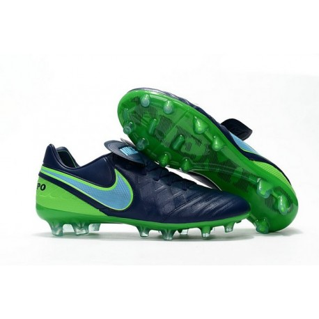 Nike Leather Tiempo Legend 6 FG Firm Ground Cleats -Black Green
