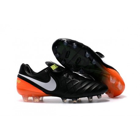 best sneakers 3d3c2 66c52 Nike Leather Tiempo Legend 6 FG Firm Ground Cleats -Black White Orange