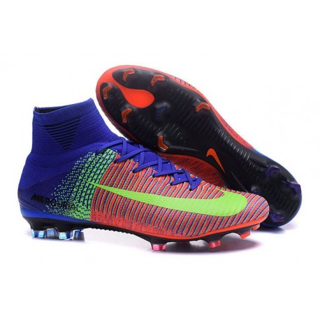 Mens Nike Mercurial Superfly 5 FG High Top Boot Pink Blue Green