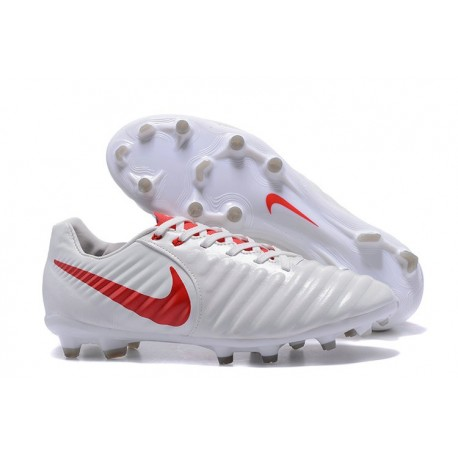 Nike Tiempo Legend 7 FG News Leather Soccer Cleat - White Red