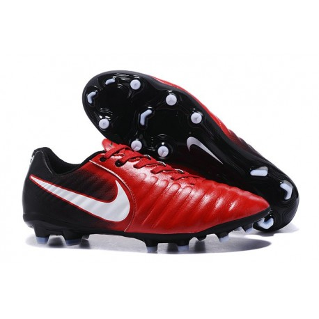 Nike Tiempo Legend 7 FG News Leather Soccer Cleat - Red Black White