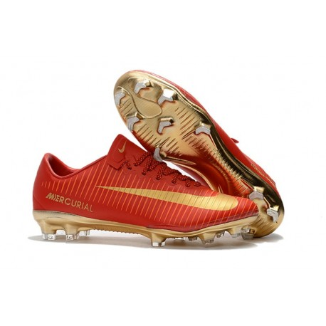 promo code f6ebf 620e5 Nike Mercurial Vapor 11 FG ACC Football Shoes CR7 Red Golden