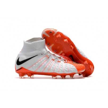 New Nike Hypervenom Phantom III DF FG Flyknit Boots - White Orange