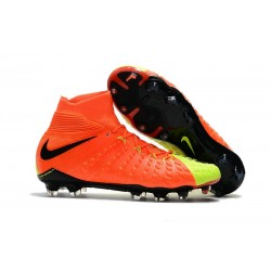 New Nike Hypervenom Phantom III DF FG Flyknit Boots - Orange Yellow