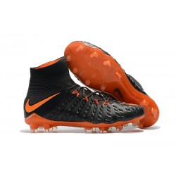 New Nike Hypervenom Phantom III DF FG Flyknit Boots - Black Orange