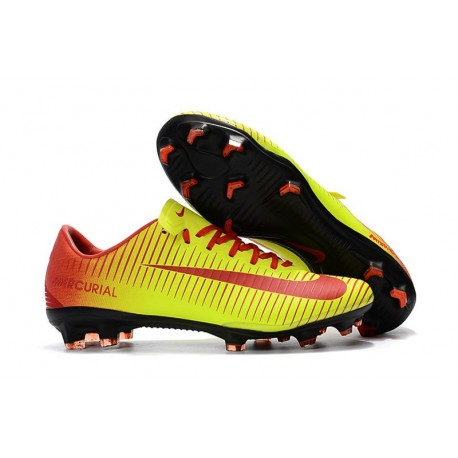 New Nike Mercurial Vapor 11 FG ACC Football Shoes - Yellow Red