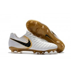 Nike Tiempo Legend 7 FG Leather Soccer Cleats White Golden