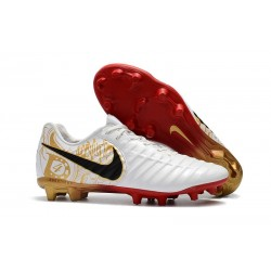 Nike Tiempo Legend 7 FG Leather Soccer Cleats White Gold Red