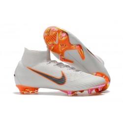 New Nike Mercurial Superfly 6 Elite FG Cleats - White Grey Orange