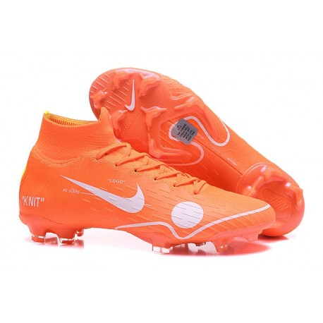 Nike & Off White Mercurial Superfly 6 FG Football Boots - Orange