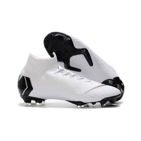 Nike Mercurial Superfly VI Elite FG Soccer Shoes - White Black
