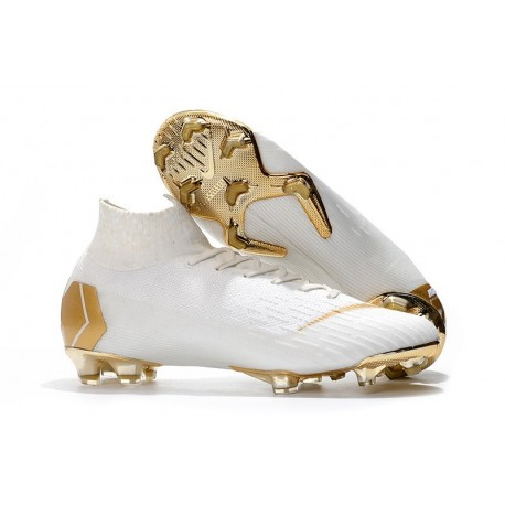 Nike Mercurial Superfly VI Elite FG Soccer Shoes - White Gold