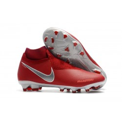 Nike Phantom Vision Elite Dynamic Fit FG Soccer Cleats - Crimson Silver
