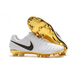 Nike Tiempo Legend VII Elite FG New Soccer Shoes - White Golden