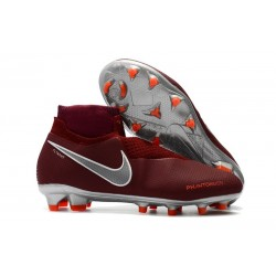 Nike Phantom VSN Elite DF FG Soccer Boots - Red Silver