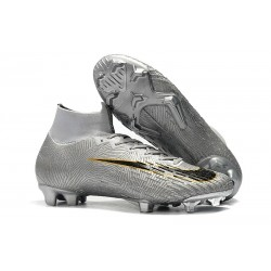Nike Mercurial Superfly 6 Elite DF FG Soccer Cleats - Silver Black Golden