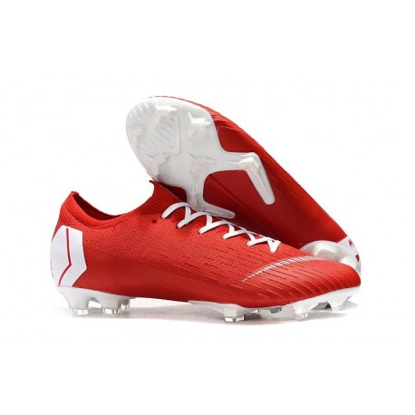 Mens Nike Mercurial Vapor 12 Elite FG Cleats - Red White
