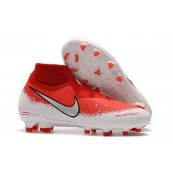 Nike Phantom VSN Elite DF FG Soccer Boots - Red White Silver