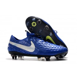 Nike Tiempo Legend 8 Elite SG-Pro AC Leather Shoes Blue Silver