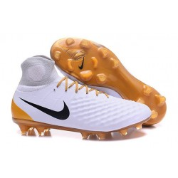 Nike Magista Obra 2 FG Frim Ground Shoes White Gold Black
