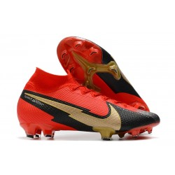 Nike Mercurial Superfly VII Elite Dynamic Fit FG Red Black Golden