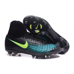 Nike Magista Obra II FG High Top Boots Black Blue Volt